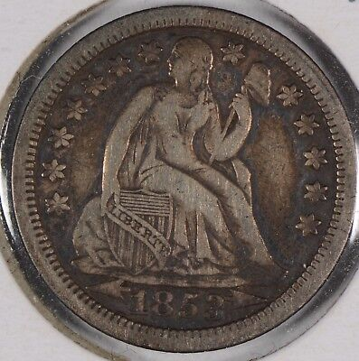 1853 10C Arrows Liberty Seated Dime Extra Fine #134553