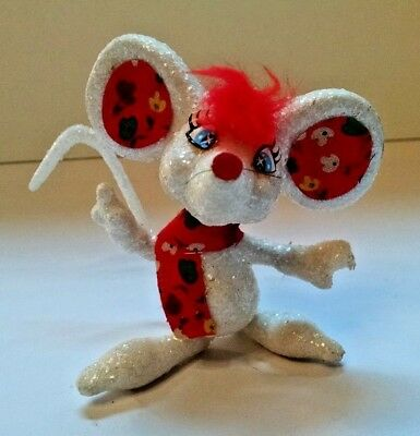Wonderful Christmas Mouse Ornament - Handmade Embellished Glitter - Very Cute