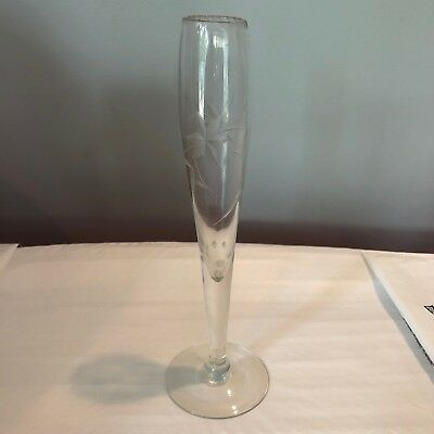 "Bud Vase Etched Glass with Flowers 9"" Tall"