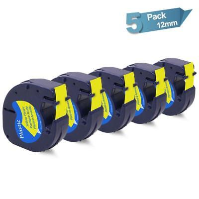 5PK Compatibel for DYMO 91332 91202 Plastic LetraTag Label Tape Black on Yellow