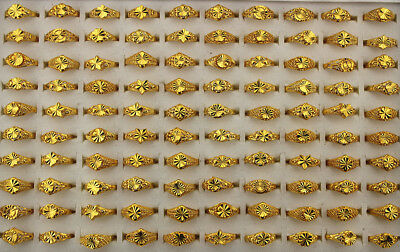 50pcs Gold P Jewelry Mixed Style Fashion Alloy Lady's Rings Wholesale Lots AH743