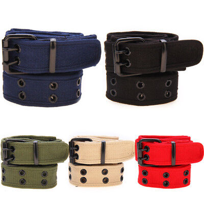 NEW Mens Womens Cotton Casual Canvas Plain Webbing Waist Belt Casual Canvas Belt