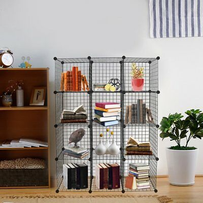 Best - Multi Use DIY 12 Cube Wire Grid Organizer/Bookcase/Storage Cabinet