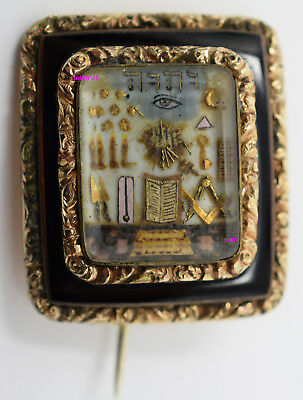 Antique Masonic Jewel Pin,Tiny Symbols,Eye,Diorama,Some Gold,Enamel,Box,19c,NICE