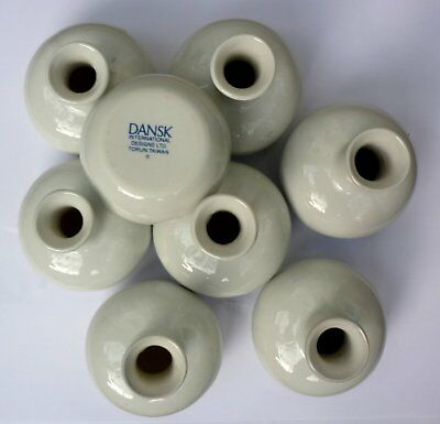 "Dansk White Porcelain Bud Vase 3"", Set of 8"