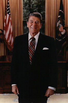 Official Portrait of President Ronald Reagan, Oval Office White House - Postcard