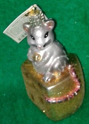Hungry Mouse  Hand Painted Glass Ornament, Old World Christmas, Free Shipping