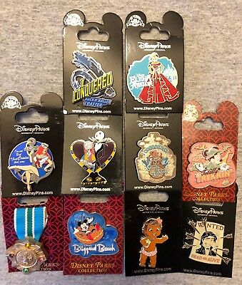 Disney Authentic 10 Pin Trading/collector Pin Set (  E - 3 )