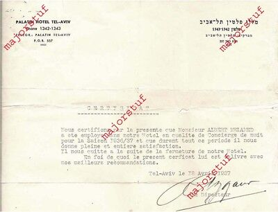 CERTIFICATE appointing M. A MELAMED concierge PALATIN HOTEL Tel Aviv ISRAEL 1937