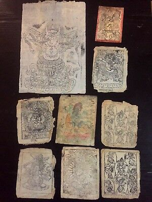 Antique Buddhist Amulets (9 items) Dharmapala - Tantric Divinities - Woodblock