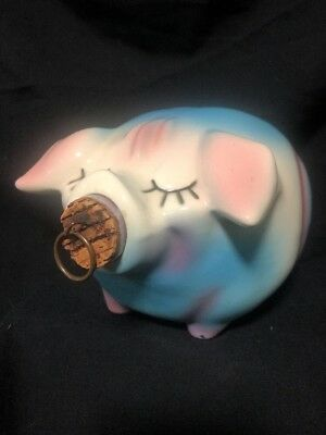 Vintage Hull Pottery 1957 Corky Pig Piggy Bank w/ Original Cork