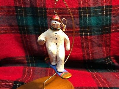 "Rare Roman Bill Jauquet ""Snowman on Snowboard"" Ornament 1996"