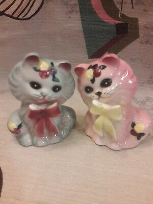 Vintage Mid Century Pink Blue Japan Kitty Cats Salt Pepper Shaker