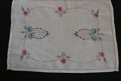 Vintage off-white linen hand embroidered floral tray cloth.