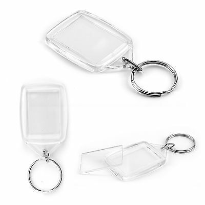 New 100pcs Acrylic Plastic Blank 35x25 MM Clear Keyrings Insert Photo Key Rings