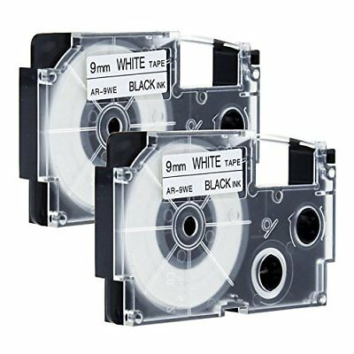 2pk KL430 XR-9WE Compatible for CASIO Label Tape Black on White 9mm 8m KL-100