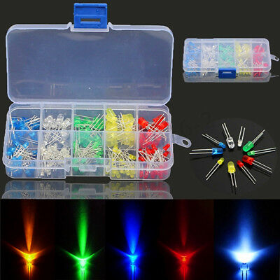 375Pcs 3/5mm LED Light Assorted Emitting Diode Lamp Assortment Kit 5 Colors