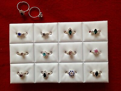 JOBLOT-12 kids rings -12 styles of crystal/colour diamante. Silver plated.UKmade