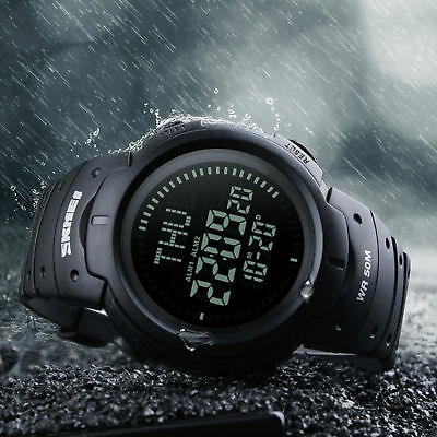 Black Men's LED Digital Wrist Watches Countdown Compass Outdoor Military Watch