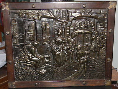 Arts & Crafts? embossed pressed copper medieval French street scene ala FOURMI
