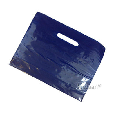 """500 Navy Blue Plastic Carrier Bags 22""""x18""""+3"""" Strong Patch Handle Gift Retail"""