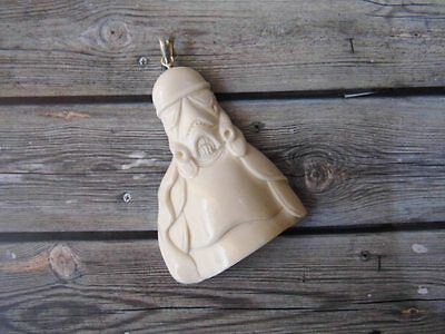 Pendant Storm Trooper Star Wars from Buffalo Bone Carved with Silver 925_y193