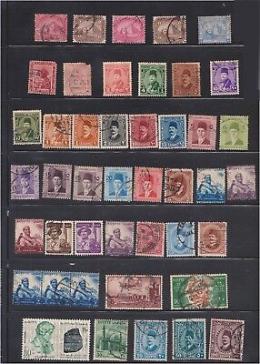 (Q29-7) 1879-1960 Egypt Mix of 51 stamps valued to 100M (G)