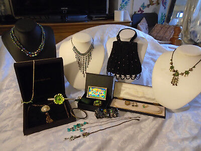 mixed lot of vintage/costume jewlery,exquisite ab necklace, art deco style bag,