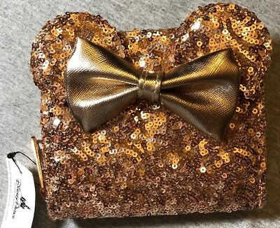 Disney Parks Minnie Mouse Ears Rose Gold Sequin Loungefly Wallet (NEW WITH TAGS)