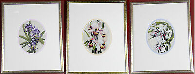 Gold framed orchid flower tapestry embroidery wall hangings artwork trilogy trio