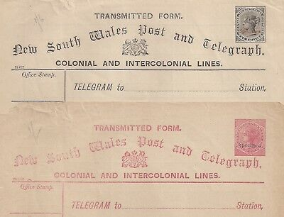 NEW SOUTH WALES TELGRAPH FORMS w SPECIMEN STAMPS 2 COLORS WOULD MAKE GREAT CUT S