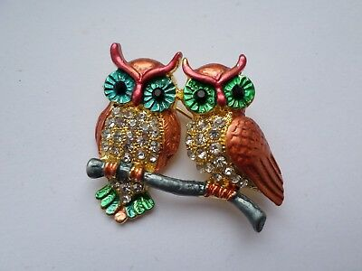 Cute colourful two owl brooch