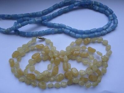 2 vintage circa late 20th century Flapper length glass bead necklaces