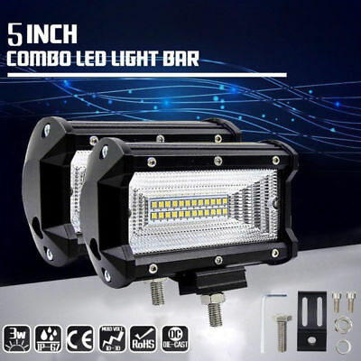 2X 72W LED Work Flood Square Spot Light 12V 24V Off Road Truck Boat SUV Fog Lamp