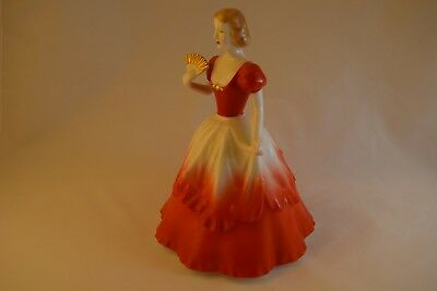 Beautiful Noritake Figurine, Lady in Red Dress, Nippon Toki Kaisha Backstamp