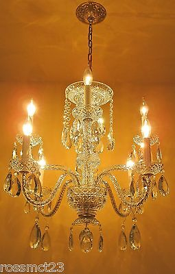 Large eight arm crystal chandelier