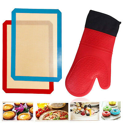 Heat Resistant Proof Cooking Oven Mitt Glove + THICK Silicone Baking Mat Kitchen