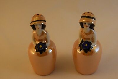Beautiful Noritake Lady Salt and Pepper Shakers, Lusterware Ladies, Art Deco Era