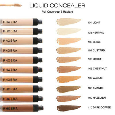 Women10 Colors PHOERA Matte Oil Control Concealer Liquid Foundation Beauty