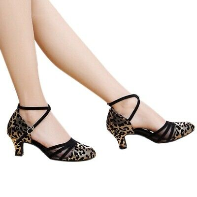 Women's Ballroom Heeled Dancing Shoes Shinny Faux Leather Latin Chacha Shoes New