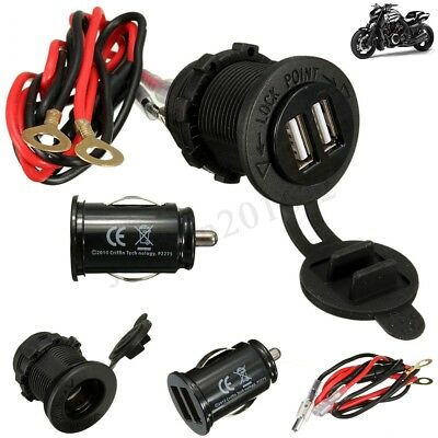 Waterproof Dual USB Car Motorcycle Phone Charger Socket w/ Cable DC12V /