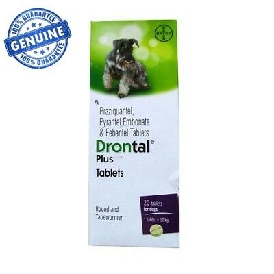 Bayer Drontal Plus for Dogs,Puppies 20-Tablet Roundworm and Tapewormer Genuine