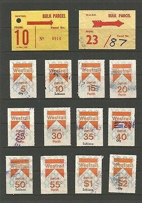 WEST AUST  WESTRAIL 6th SERIES 2nd ISSUE 5c to $2 FINE USED [12] + 2 lables R18