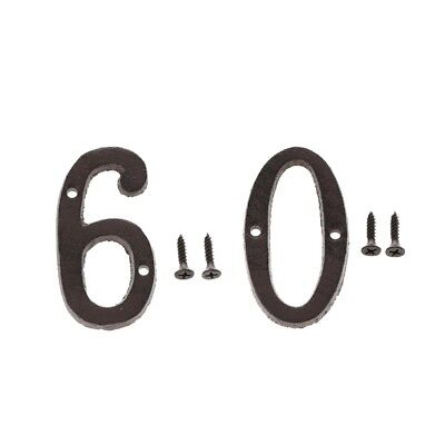 0 &6 Metal Cast Iron House Address Numbers Numerals for House Signs/Plaques