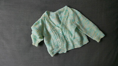 Hand knitted baby cardigan size 3- 6 months, super soft, unisex