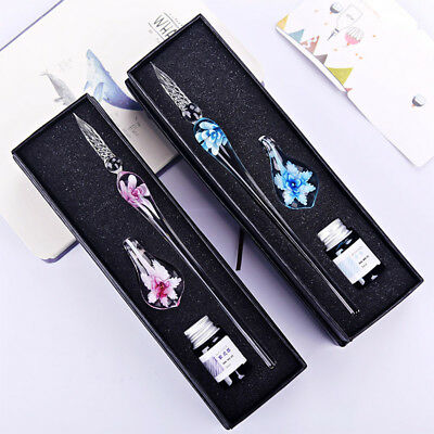 Vintage Crystal Glass Dip Pen Set Ink Fountain Signature Writing Gifts Box