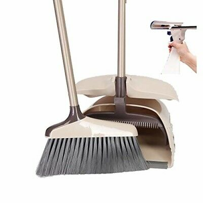Dustpan Broom Sweep Set | Long Handle Cleaner for Home, Kitchen, Room, Office