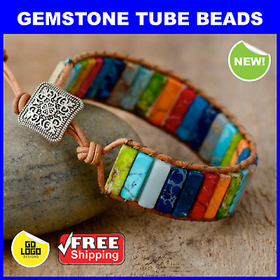 Gemstone Chakra Bracelet Natural Stone & Leather Healing Handmade Rainbow Beads