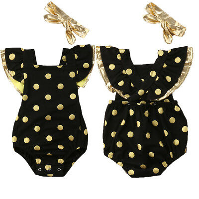 Canis Toddler Baby Girls Dot Romper Bodysuit Jumpsuit Headband Outfit 2pcs