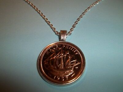 SHIP HALF PENNY COIN - SILVER CASED - PENDANT NECKLACE - 1962 - 56th BIRTHDAY